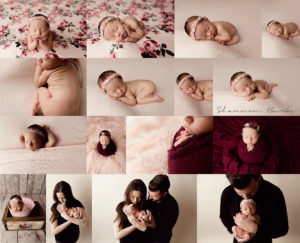 newborn girl session collage sleeping poses with pink and burgundy props