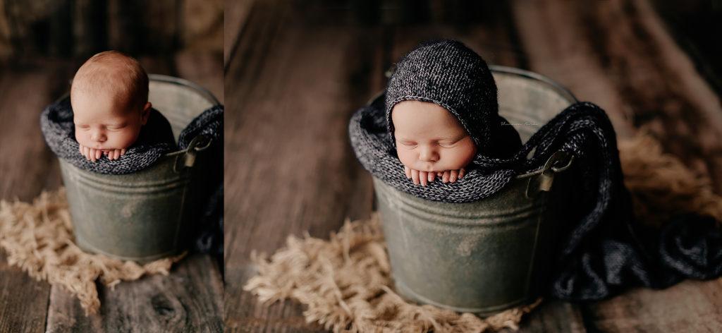 baby boy navy blue bucket pose