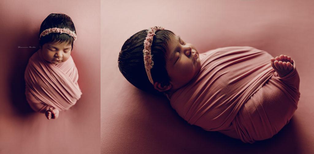 baby girl pink backdrop toes peeking pose